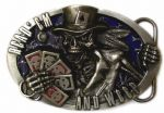 Read 'em & Weep Skull Belt Buckle + display stand. Code DM4